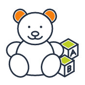 Kids quick link icon showing a teddy bear next to letter blocks, color version to depict hover