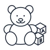 Kids quick link icon showing a teddy bear next to letter blocks