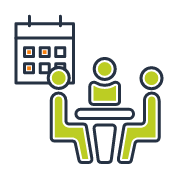 Reserve a Meeting room quick link icon depicting people sitting at a conference table colorized to depict hover state