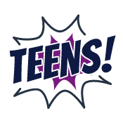 Teens quick link icon stylized with comic book style graphic with color to depict hover state